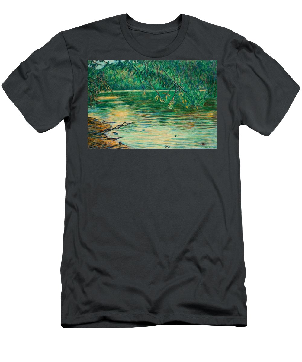 Landscape Men's T-Shirt (Athletic Fit) featuring the painting Mid-spring On The New River by Kendall Kessler