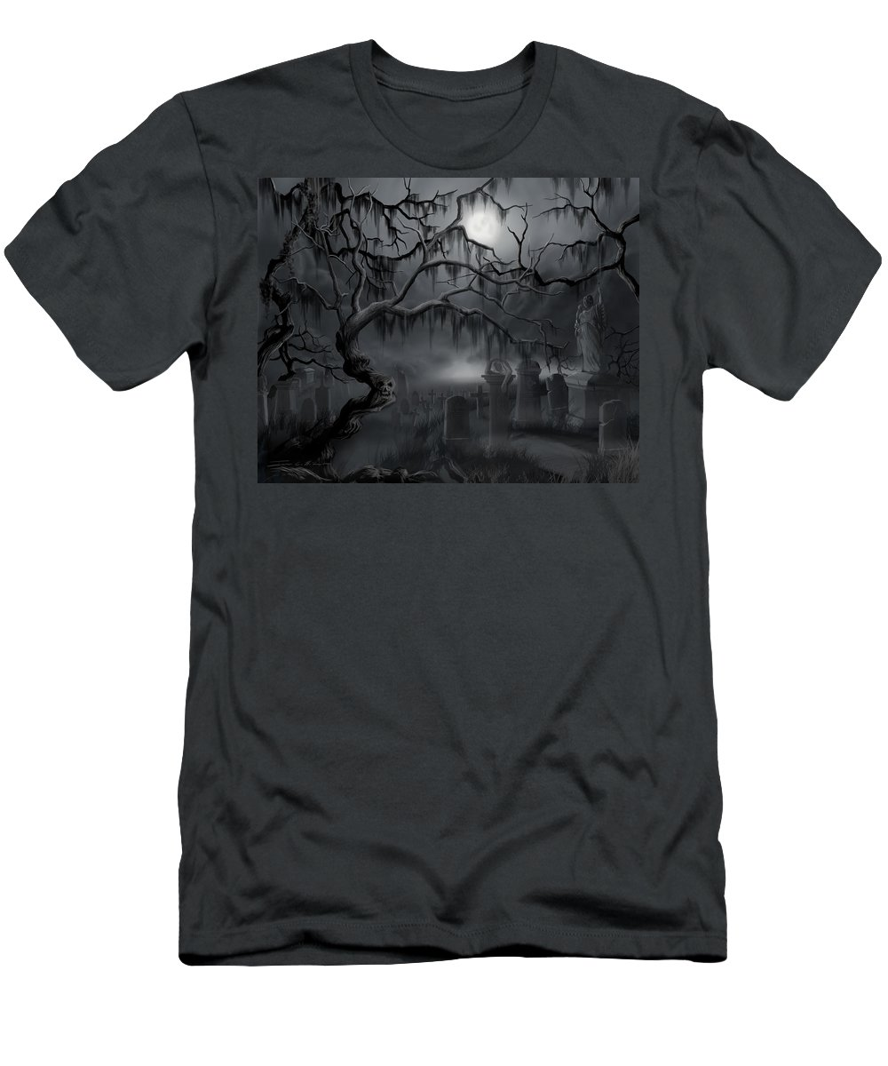 Landscape T-Shirt featuring the painting Midnight in the Graveyard by James Christopher Hill