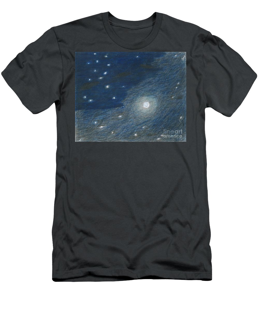 Sky Men's T-Shirt (Athletic Fit) featuring the painting Midnight by Myrtle Joy