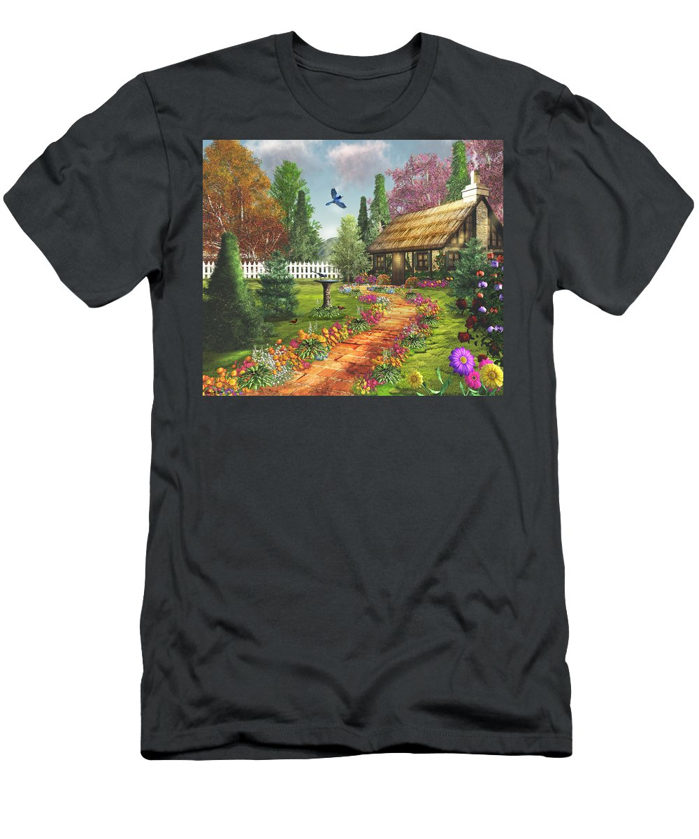 Art Licensing Men's T-Shirt (Athletic Fit) featuring the mixed media Midsummer's Joy by Caplyn Dor