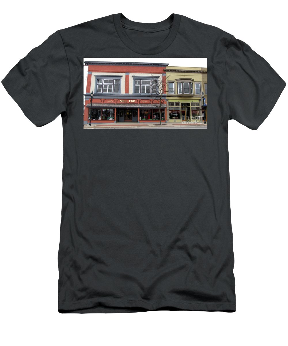 Clare Men's T-Shirt (Athletic Fit) featuring the photograph Mill End Store In Clare Michigan by Terri Gostola