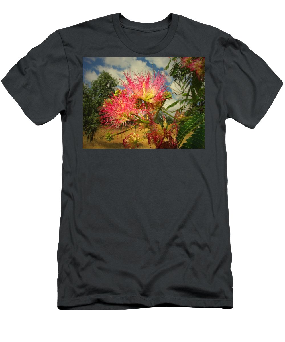 Mimosa Men's T-Shirt (Athletic Fit) featuring the photograph Mimosa Blossoms by Joyce Dickens