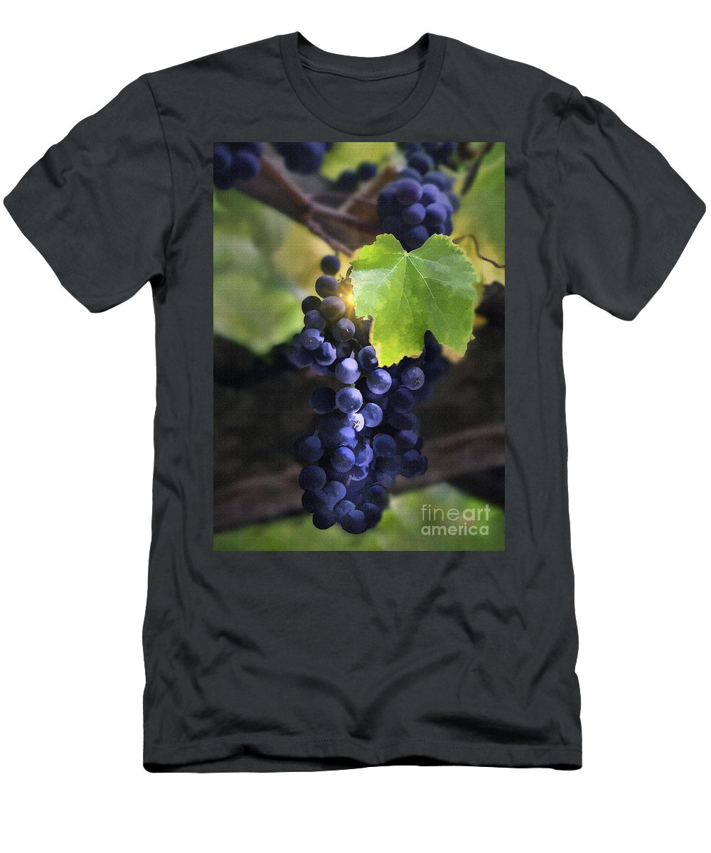 Grapes Men's T-Shirt (Athletic Fit) featuring the digital art Mission Grapes II by Sharon Foster
