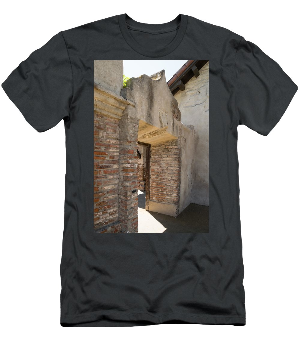 Mission Men's T-Shirt (Athletic Fit) featuring the photograph San Juan Capistrano Vi by Robert VanDerWal