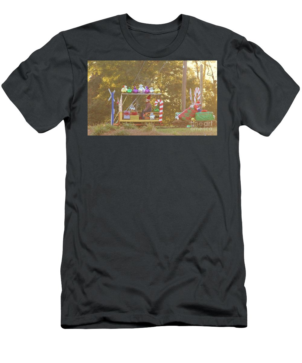 Fire Truck Men's T-Shirt (Athletic Fit) featuring the photograph Mississippi Christmas 1 by Michelle Powell
