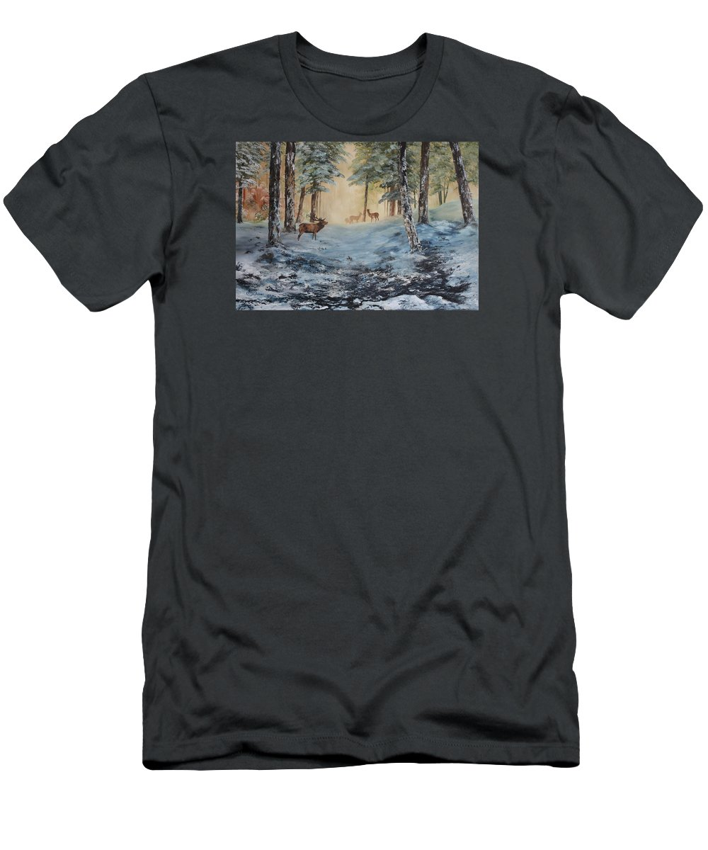 Cannock Chase Forest Men's T-Shirt (Athletic Fit) featuring the painting Misty Morning On Cannock Chase by Jean Walker