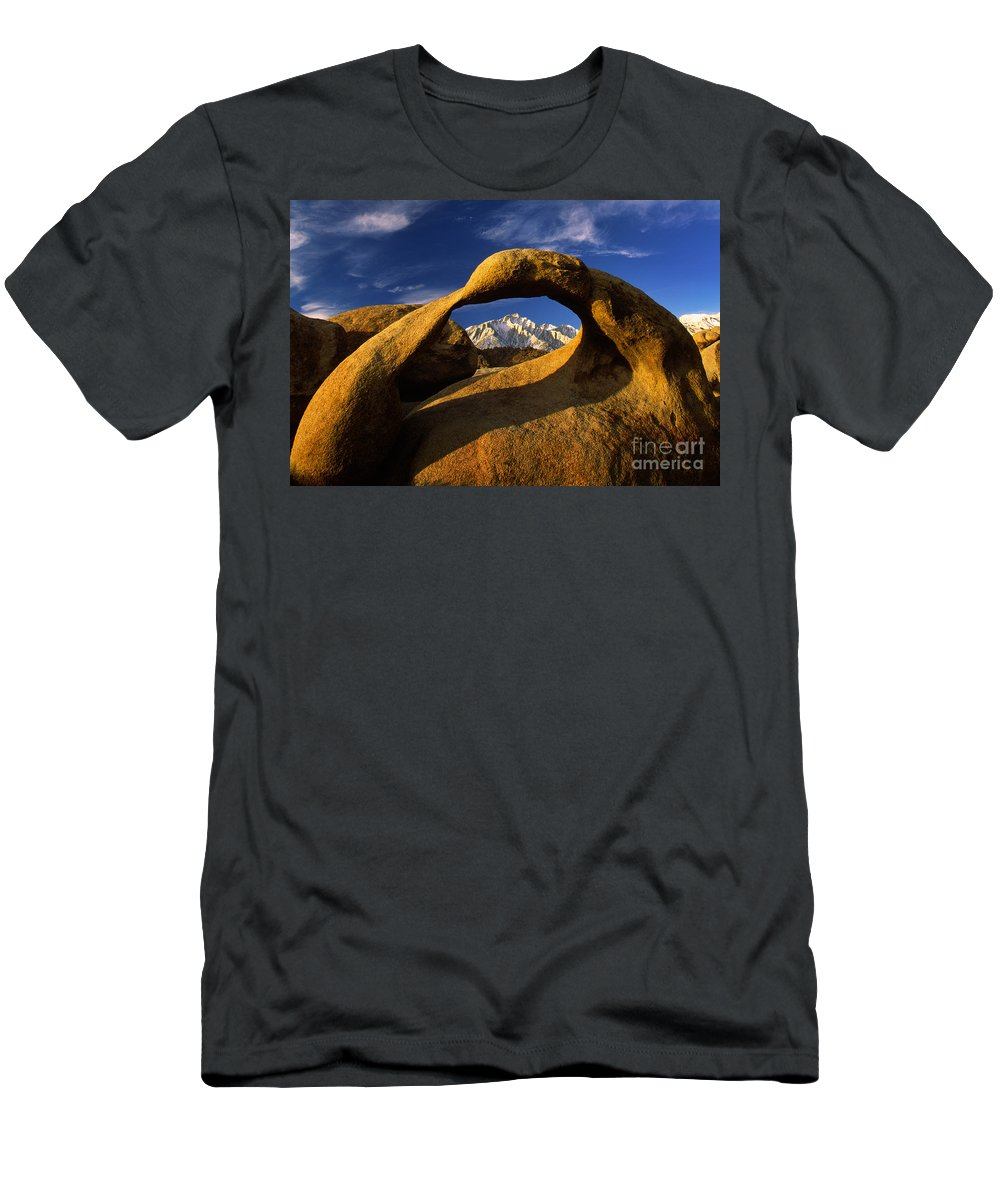 Alabama Hills Men's T-Shirt (Athletic Fit) featuring the photograph Mobius Arch by Inge Johnsson