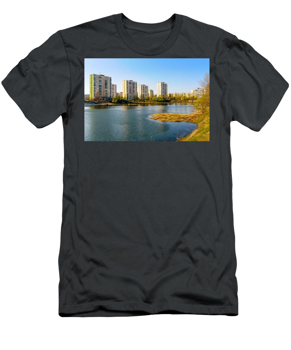 Kiev Men's T-Shirt (Athletic Fit) featuring the photograph Modern Buildings Close To The Pond by Alain De Maximy