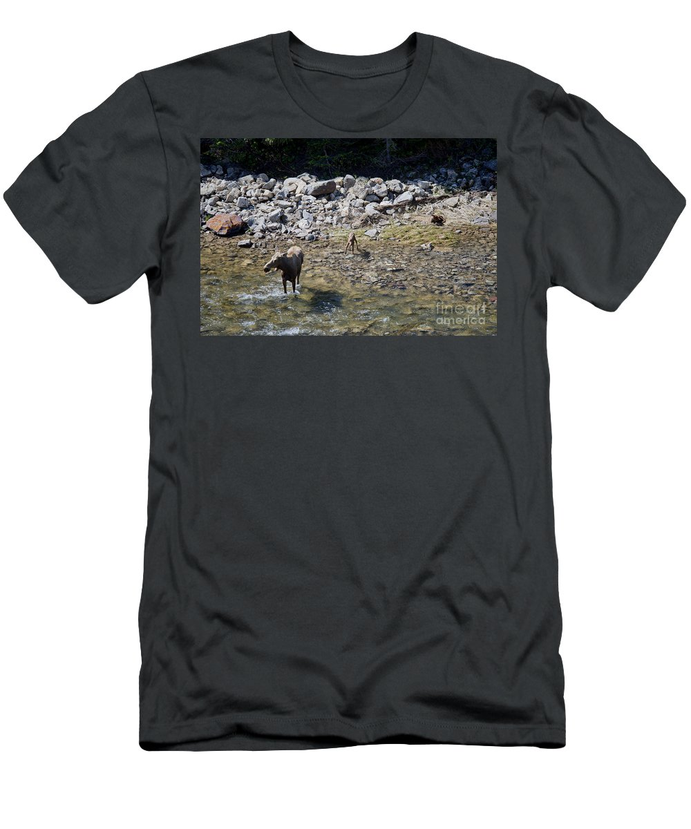 Moose Men's T-Shirt (Athletic Fit) featuring the photograph Mom And Kids At The Pool by David Arment