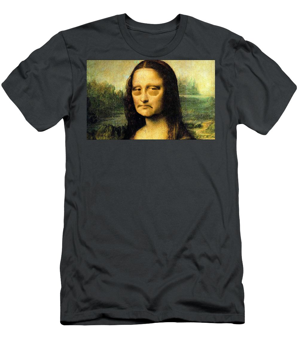 Mona Lisa Men's T-Shirt (Athletic Fit) featuring the painting Mona Lisa After Many Hours Of Posing by Bruce Nutting