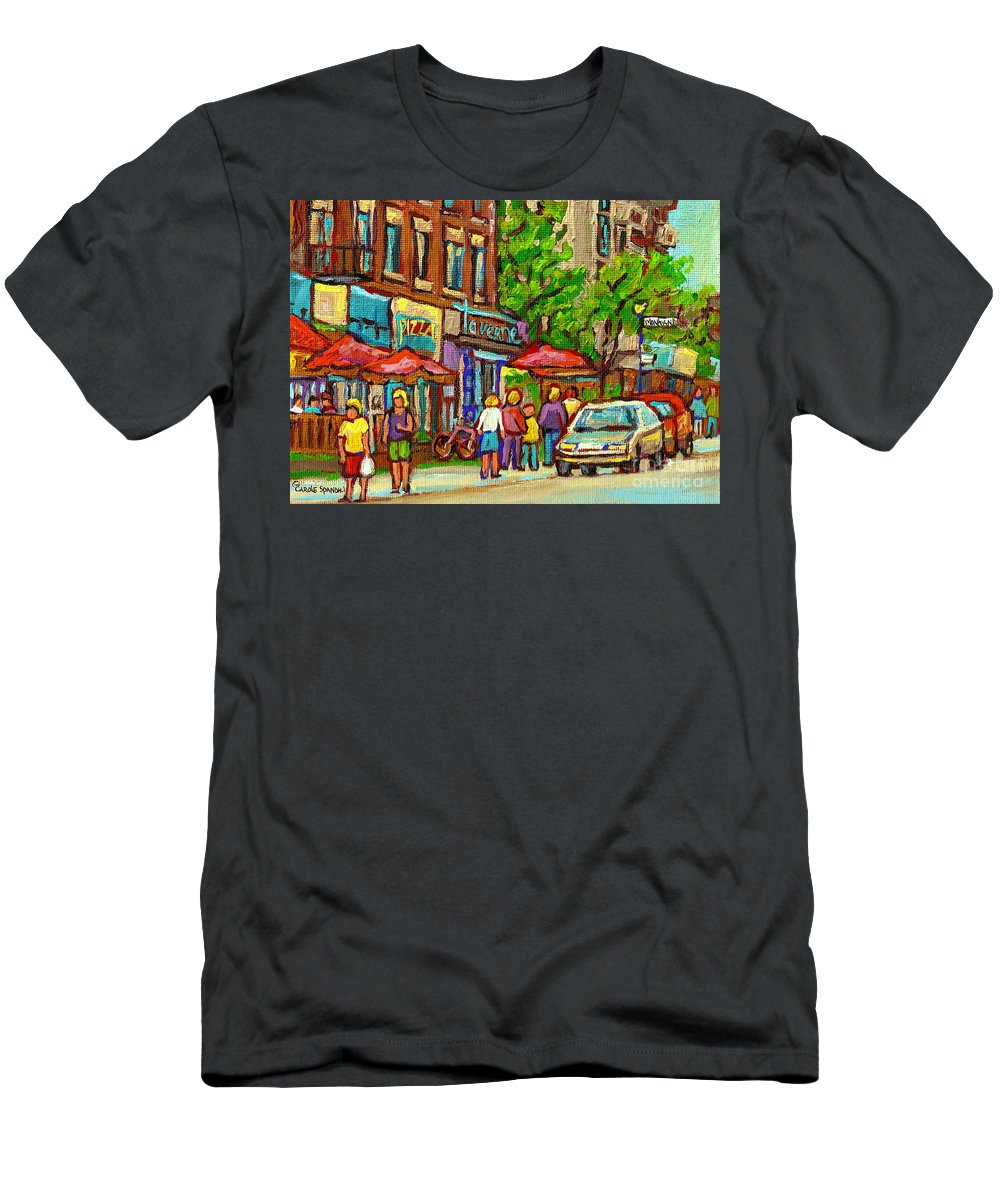 Old Orchard Taverne Monkland Montreal Street Scene Men's T-Shirt (Athletic Fit) featuring the painting Monkland Taverne Monkland Village Paintings Of Montreal City Scenes Notre Dame De Grace Cafe Scenes by Carole Spandau
