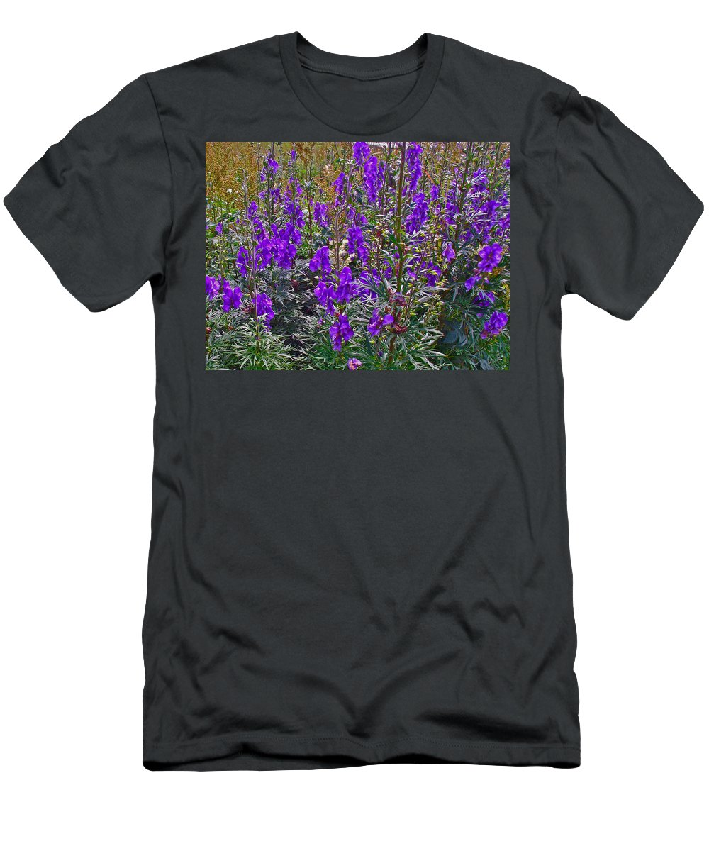 Monkshood Rocky Harbour In Gros Morne Np Men's T-Shirt (Athletic Fit) featuring the photograph Monkshood In Rocky Harbour-nl by Ruth Hager