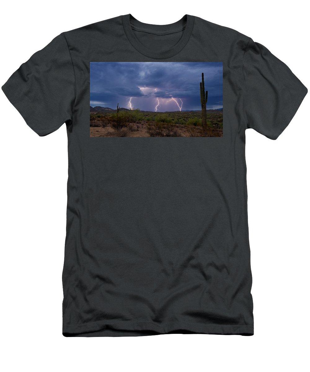 Lightning Men's T-Shirt (Athletic Fit) featuring the photograph Monsoon Madness Strikes by Saija Lehtonen