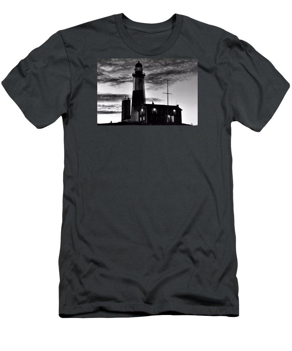 Black Men's T-Shirt (Athletic Fit) featuring the photograph Montauk Point by DJ Florek