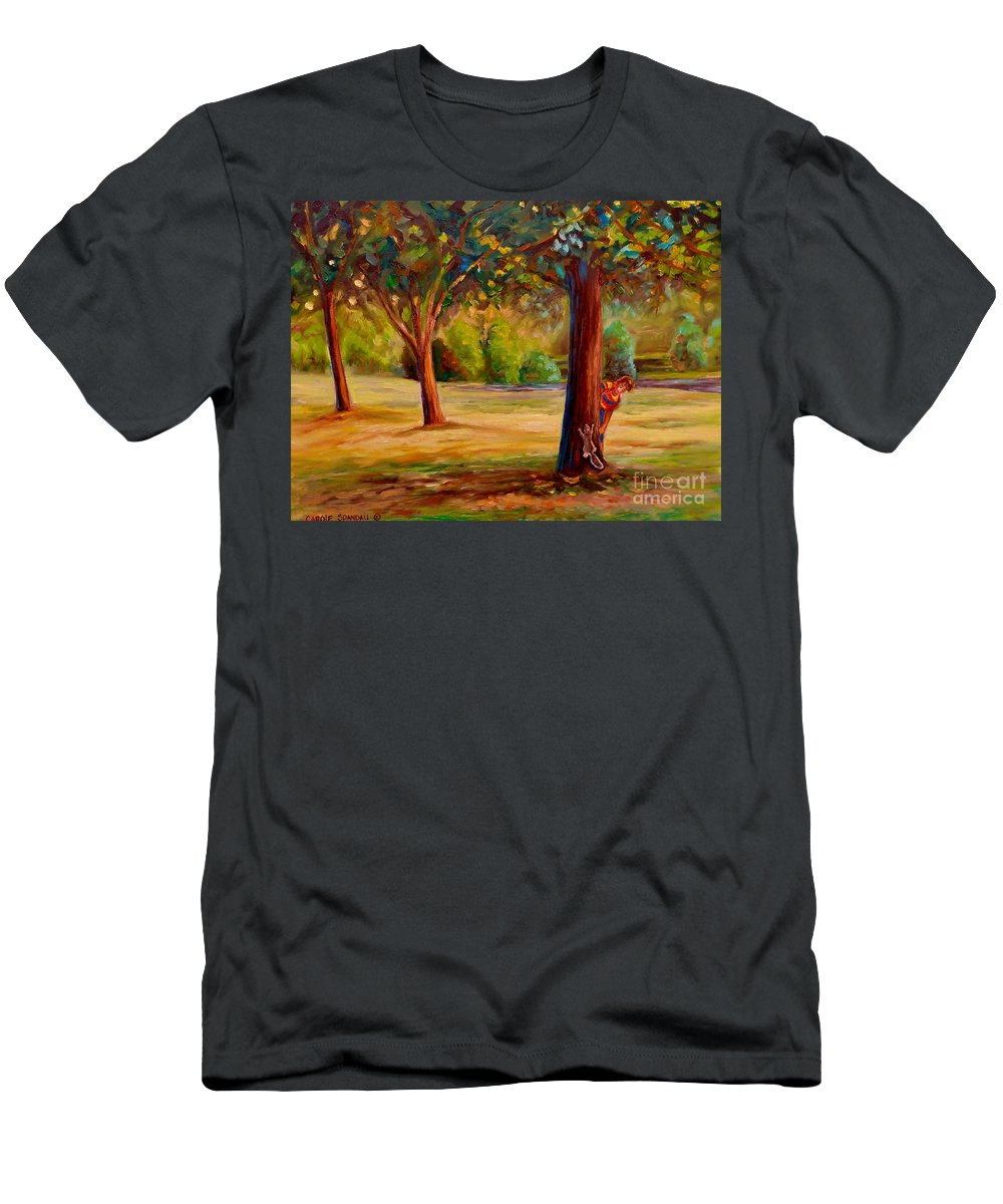 Landscapes Men's T-Shirt (Athletic Fit) featuring the painting Montreal Westmount Park Urban Scene by Carole Spandau