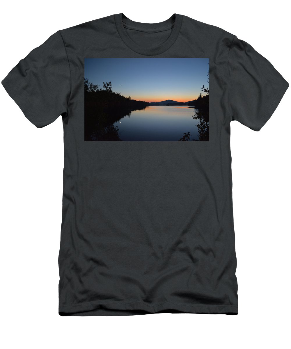 Sunset Men's T-Shirt (Athletic Fit) featuring the photograph Moon Rise by Thomas Phillips