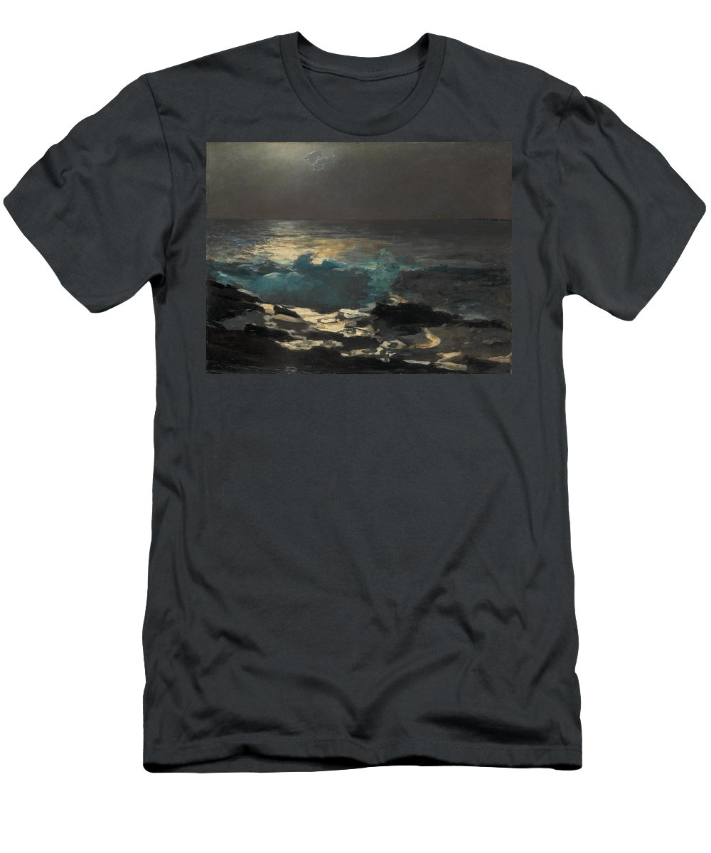 Winslow Homer Men's T-Shirt (Athletic Fit) featuring the painting Moonlight. Wood Island Light by Winslow Homer