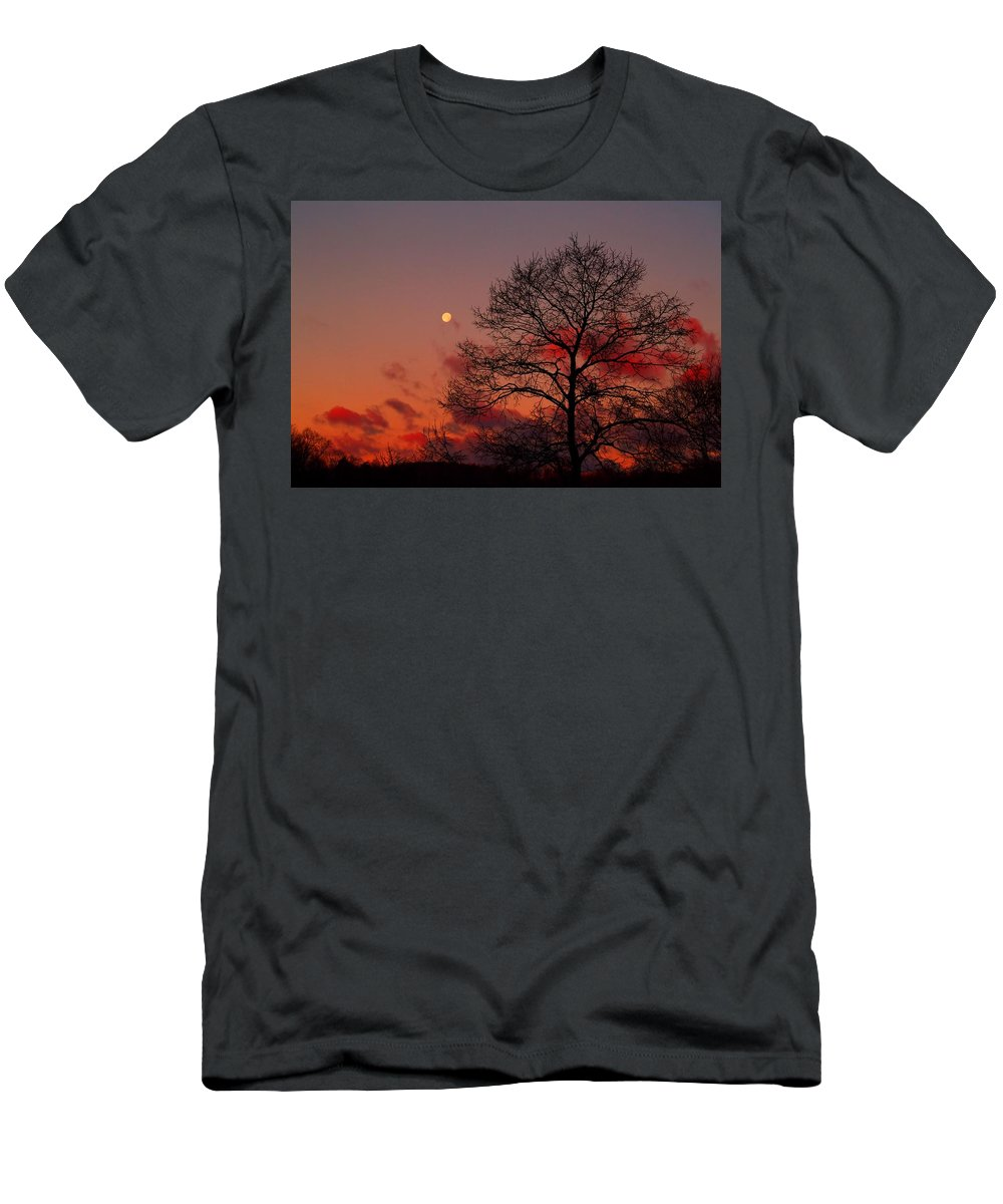 Moon Men's T-Shirt (Athletic Fit) featuring the photograph Moonset by Kathryn Meyer