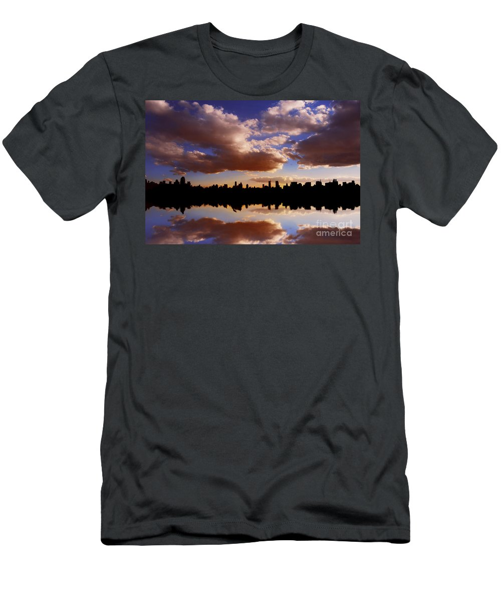 New York City Men's T-Shirt (Athletic Fit) featuring the photograph Morning At The Reservoir New York City Usa by Sabine Jacobs