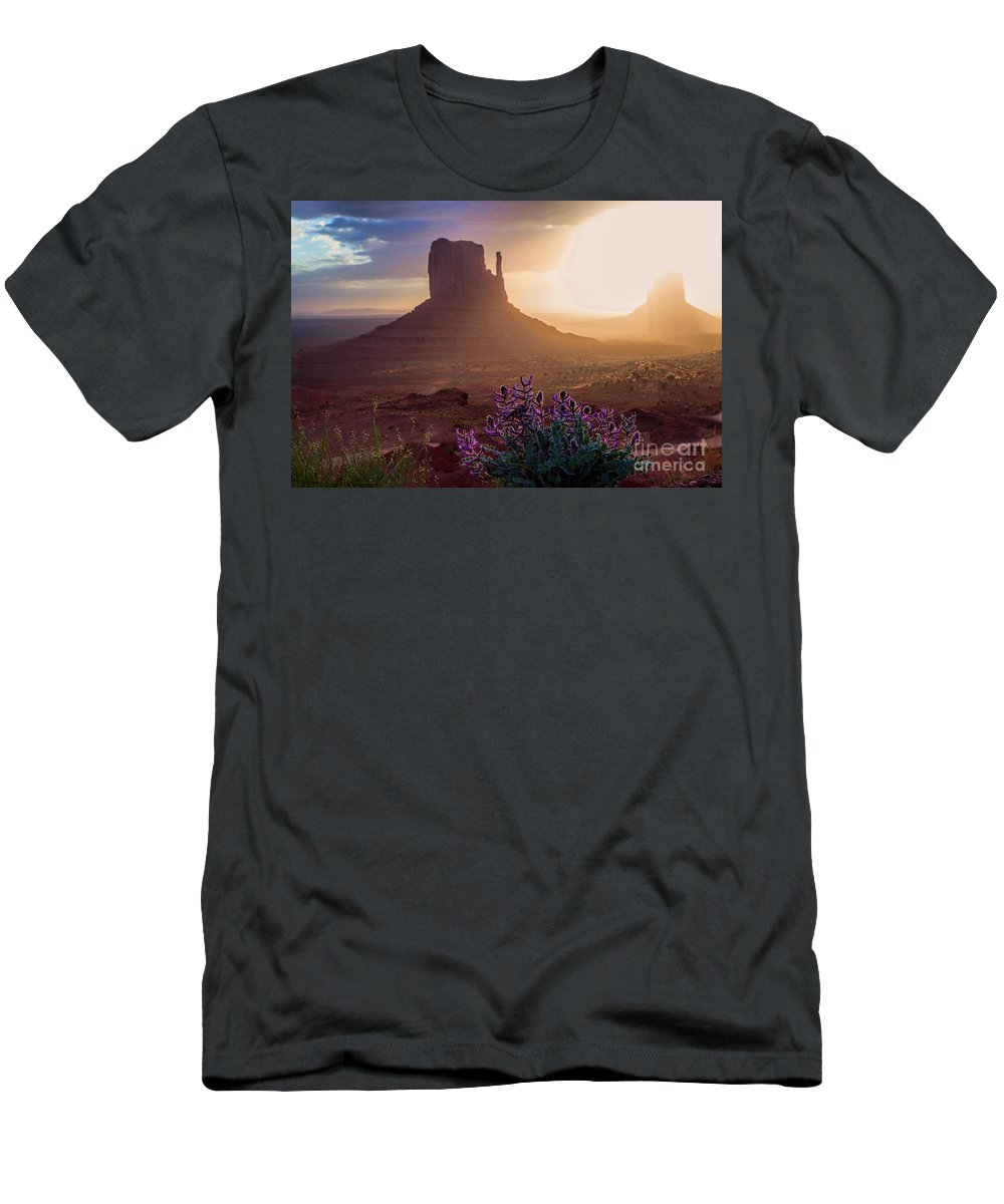Utah Landscape Men's T-Shirt (Athletic Fit) featuring the photograph Morning Bloom by Jim Garrison
