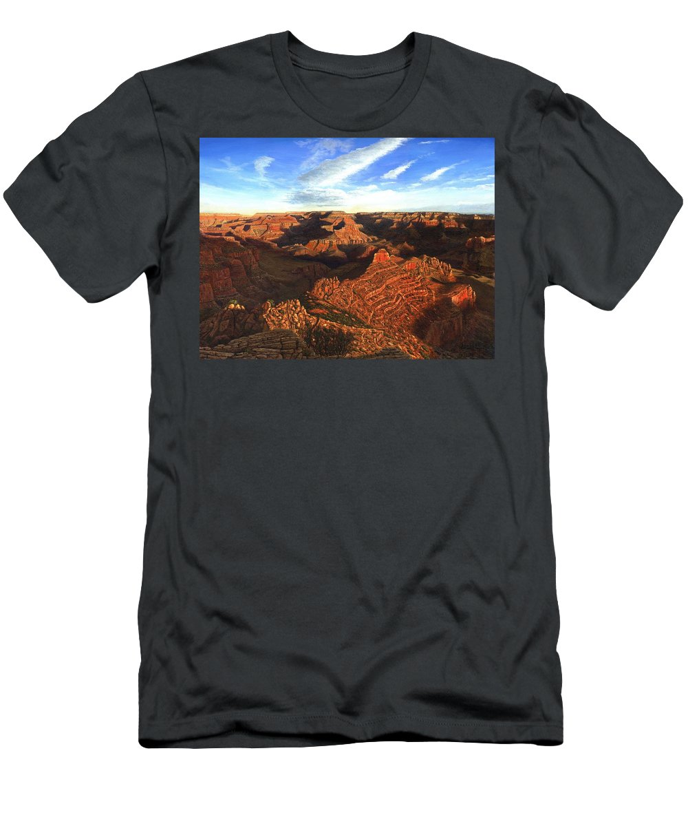 Grand Canyon Men's T-Shirt (Athletic Fit) featuring the painting Morning Glory - The Grand Canyon From Kaibab Trail by Richard Harpum