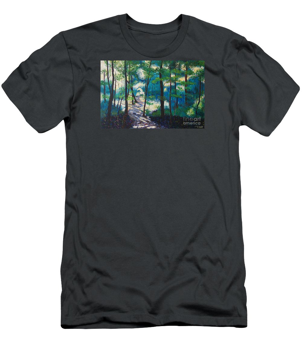 Landscapes Men's T-Shirt (Athletic Fit) featuring the painting Morning Sunshine In Park Forest by Arthur Witulski