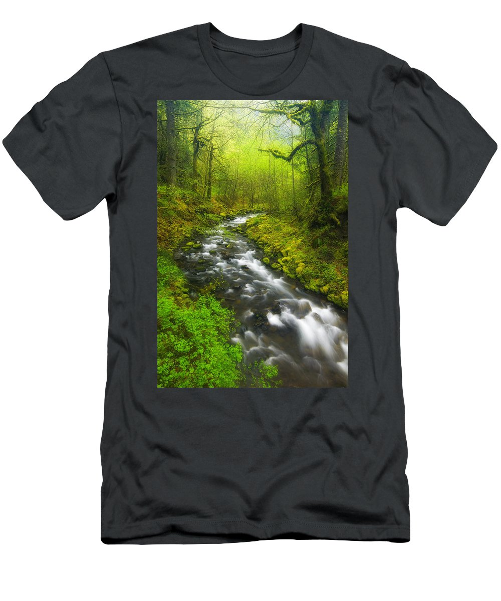 Lush Men's T-Shirt (Athletic Fit) featuring the photograph Morning Misty Creek by Darren White