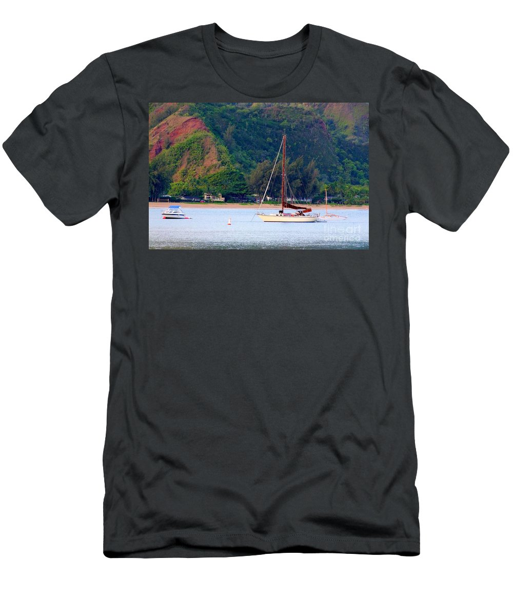 Hanalei Men's T-Shirt (Athletic Fit) featuring the photograph Morning On Hanalei Bay by Mary Deal