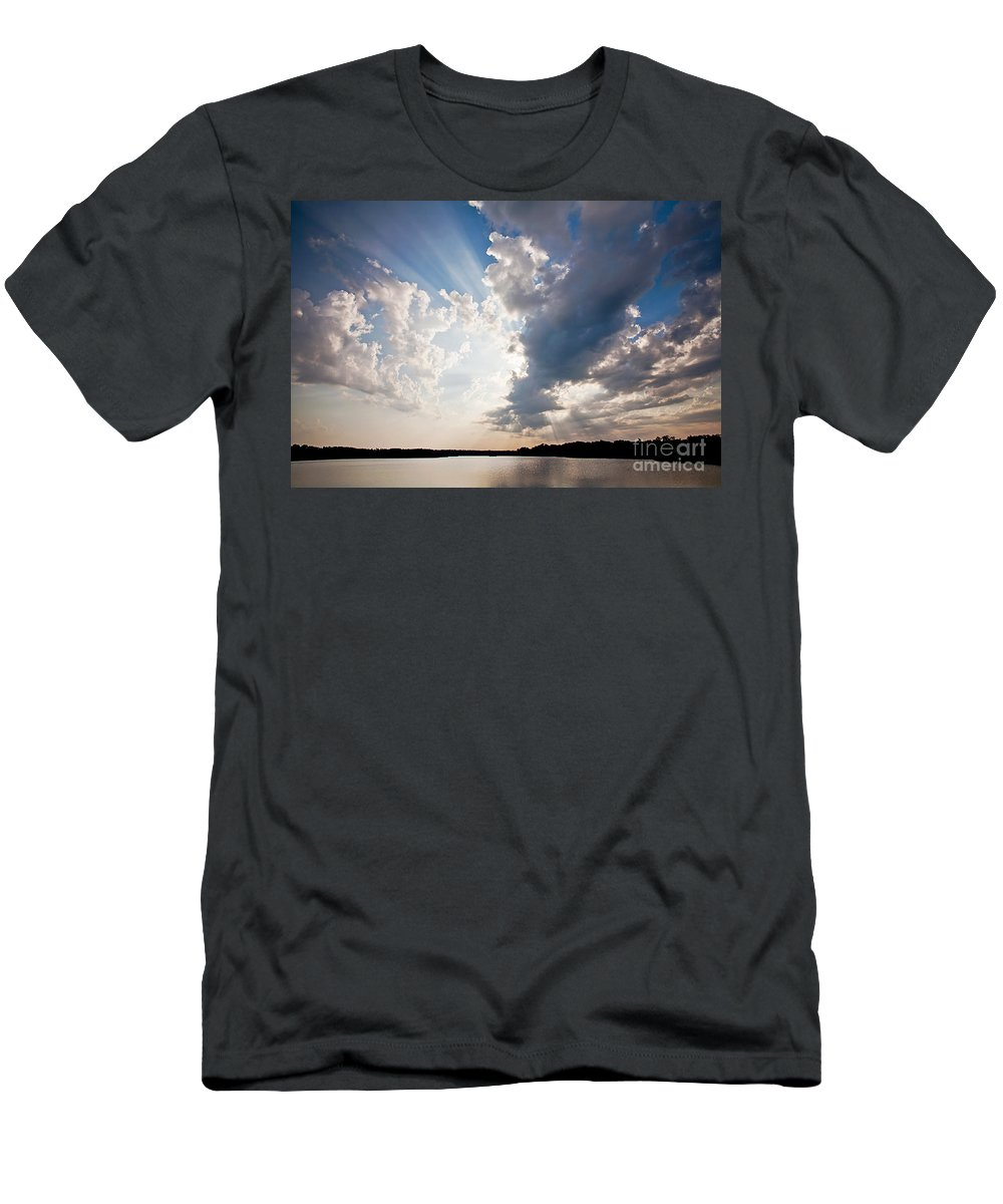 Rays Men's T-Shirt (Athletic Fit) featuring the photograph Morning Rays by Joan McCool