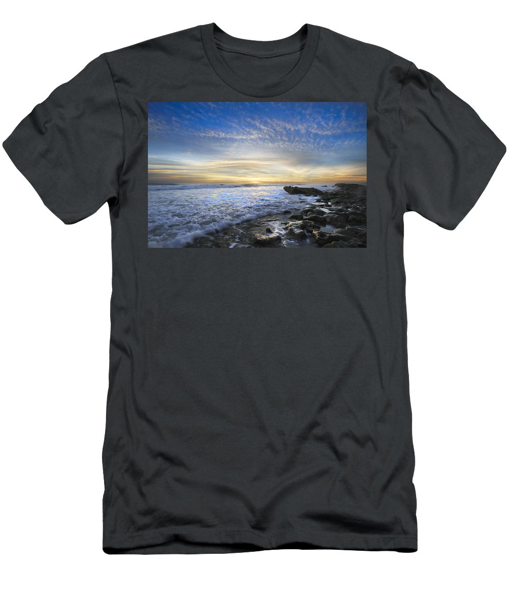 Clouds Men's T-Shirt (Athletic Fit) featuring the photograph Morning Rush Hour by Debra and Dave Vanderlaan