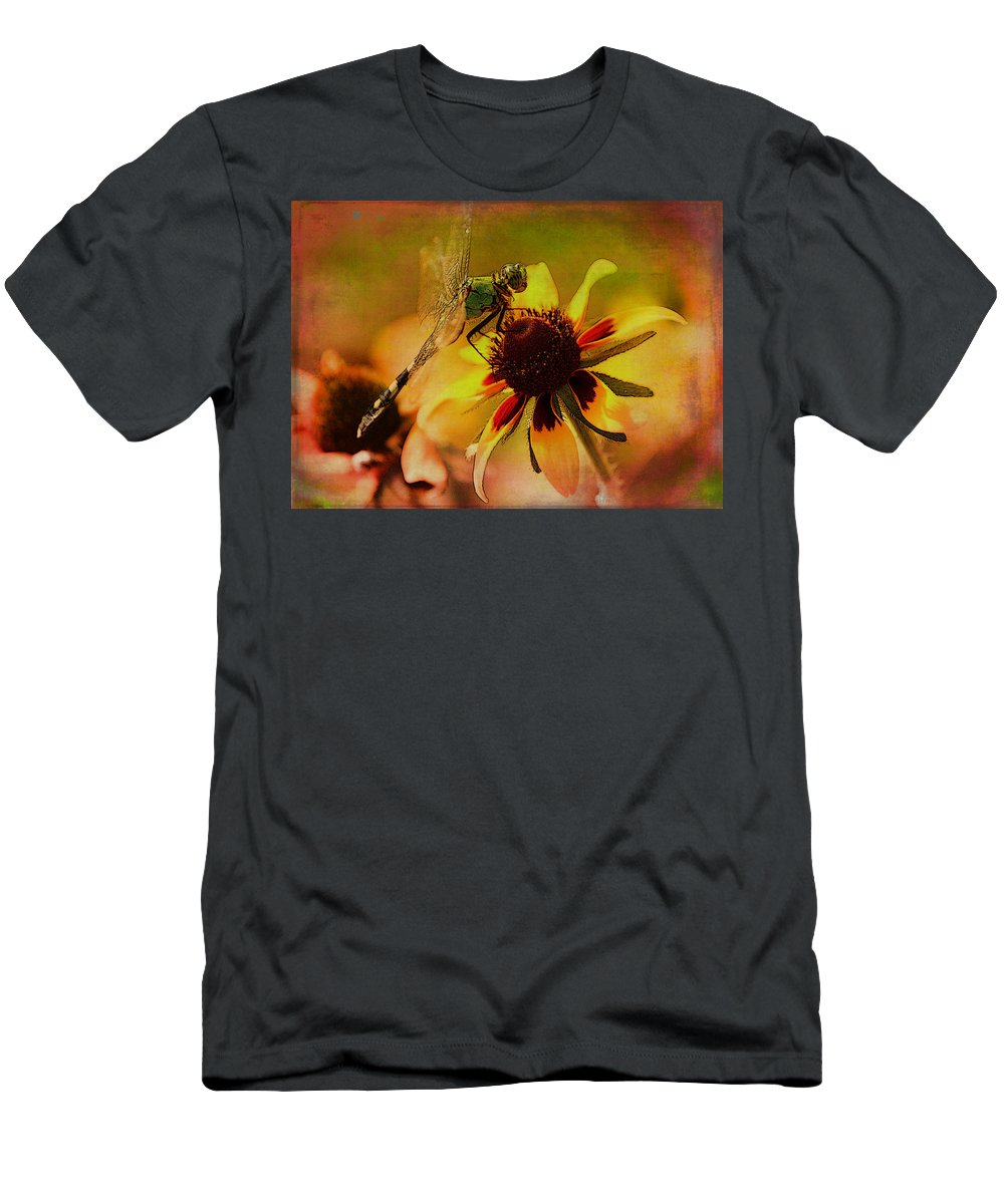 Dragonfly Men's T-Shirt (Athletic Fit) featuring the photograph Mosquito Hawk by Karen Beasley