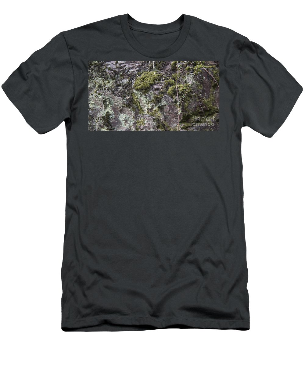 Lichen Men's T-Shirt (Athletic Fit) featuring the photograph Moss And Lichen by Teresa Mucha