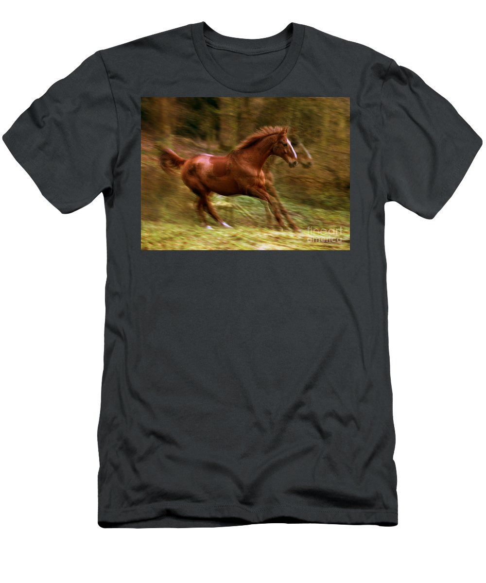 Horse Men's T-Shirt (Athletic Fit) featuring the photograph Motion Picture by Angel Ciesniarska