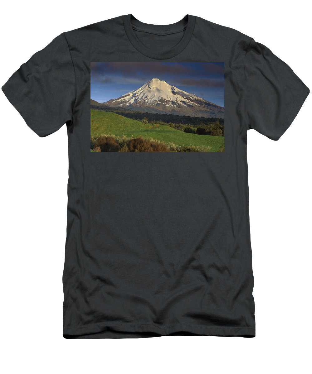 Feb0514 Men's T-Shirt (Athletic Fit) featuring the photograph Mount Taranaki Western Flanks New by Ned Norton