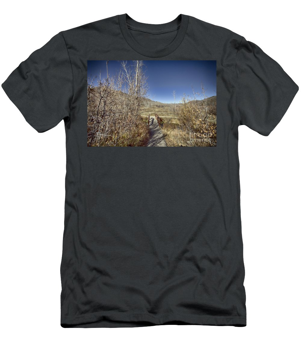 Ice Men's T-Shirt (Athletic Fit) featuring the photograph Mountain Creek Bridge by Douglas Barnard