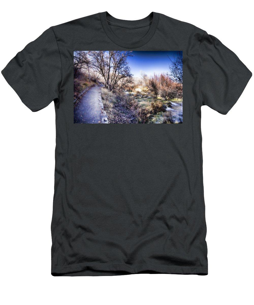 Ice Men's T-Shirt (Athletic Fit) featuring the photograph Mountain Creek Path-sundance Utah by Douglas Barnard
