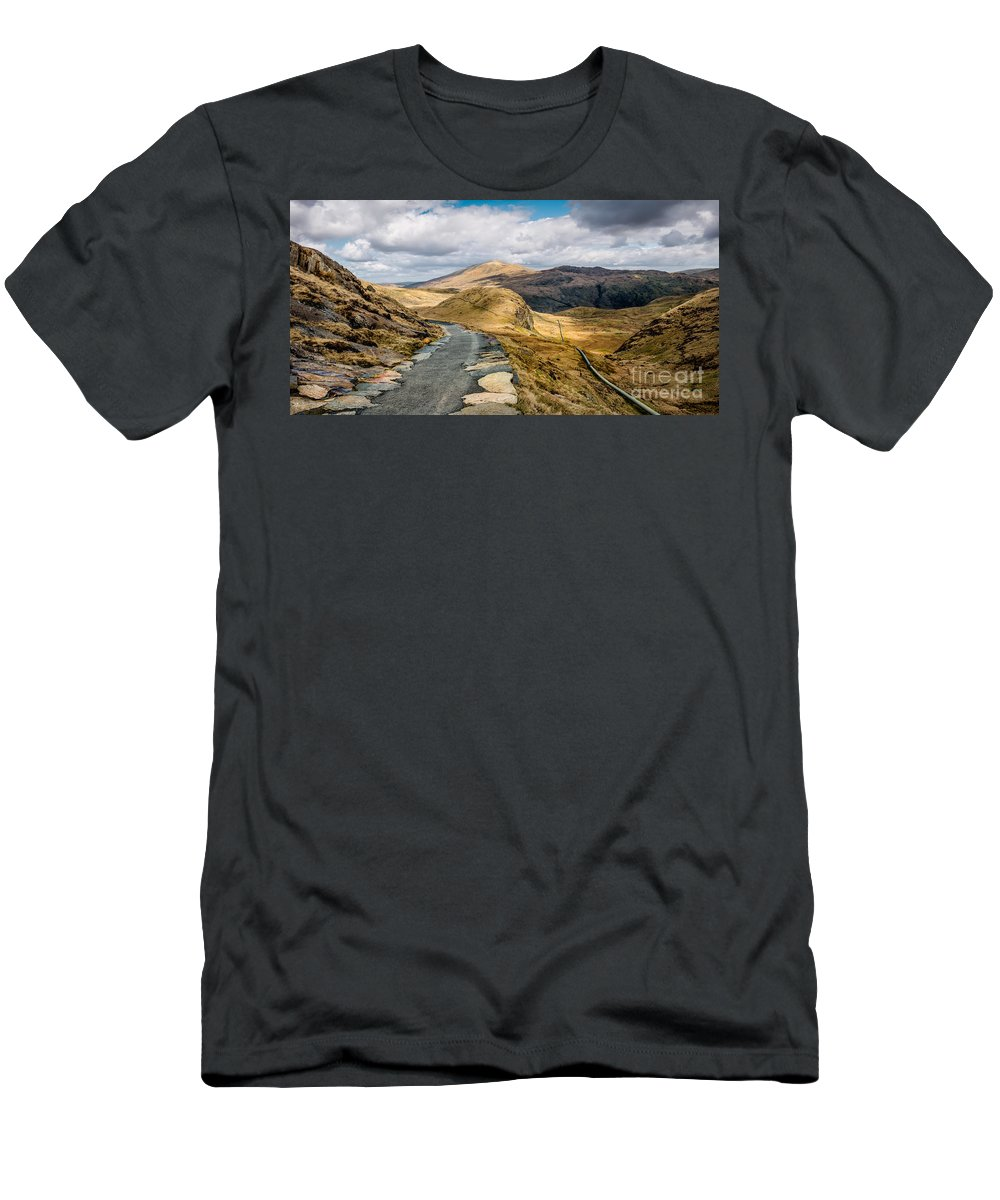 Cwm Dyli Men's T-Shirt (Athletic Fit) featuring the photograph Mountain Path by Adrian Evans