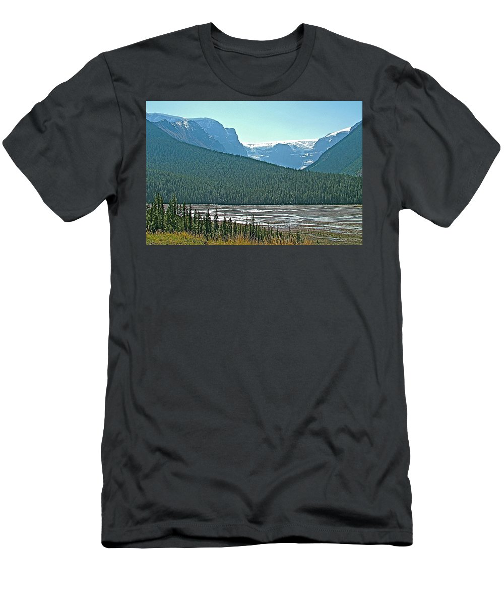 Mountain Peaks From Icefields Parkway In Alberta Men's T-Shirt (Athletic Fit) featuring the photograph Mountain Peaks From Icefields Parkway-alberta by Ruth Hager