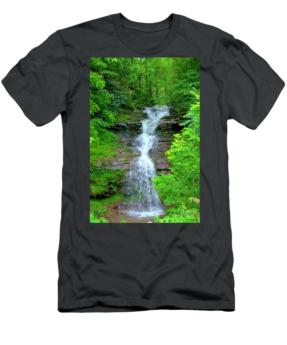 Popular Men's T-Shirt (Athletic Fit) featuring the photograph Mountain Waterfall I by Paulette B Wright
