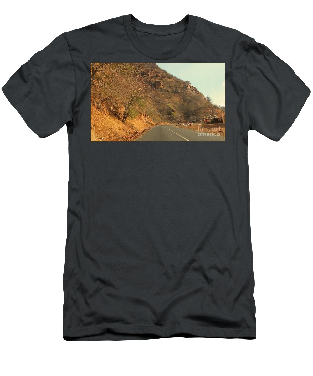 Mountain Men's T-Shirt (Athletic Fit) featuring the photograph Mountainside And Stall by Lisa Byrne