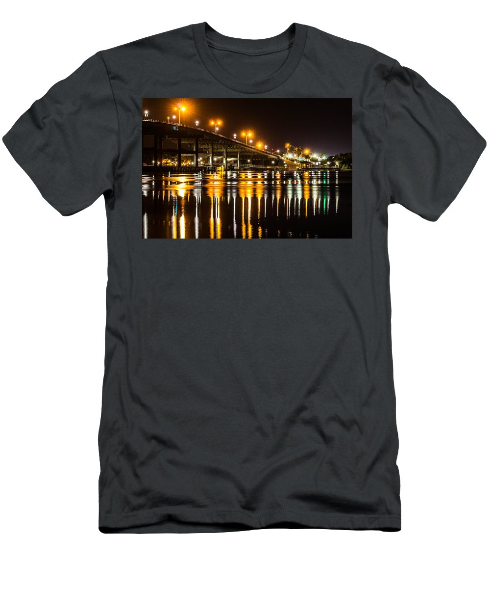 Nighttime Men's T-Shirt (Athletic Fit) featuring the photograph Moving Reflection by Tyson Kinnison