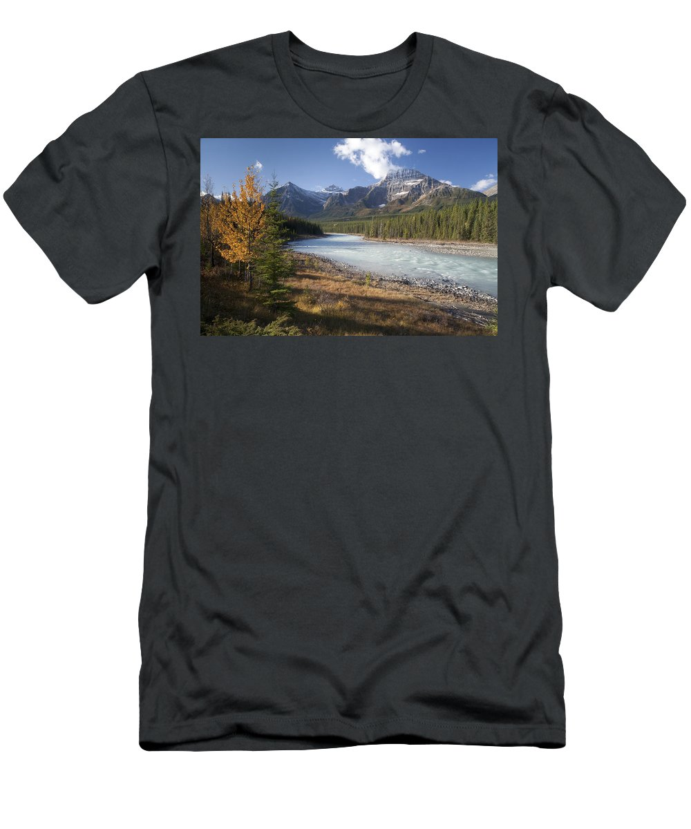 Feb0514 Men's T-Shirt (Athletic Fit) featuring the photograph Mt Kerkeslin And Athabaska River Jasper by Matthias Breiter