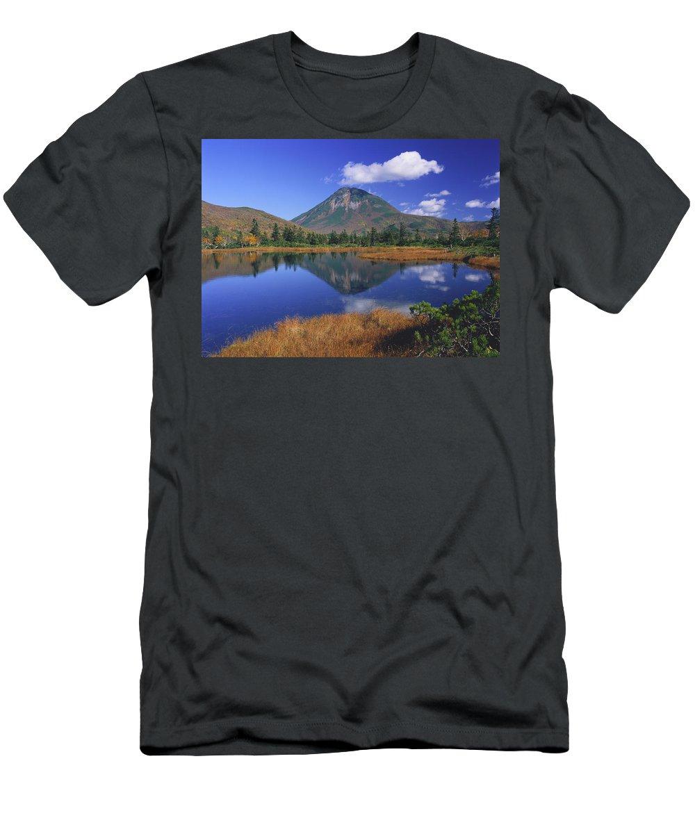 Feb0514 Men's T-Shirt (Athletic Fit) featuring the photograph Mt Rausudake Hokkaido Japan by Masami Goto