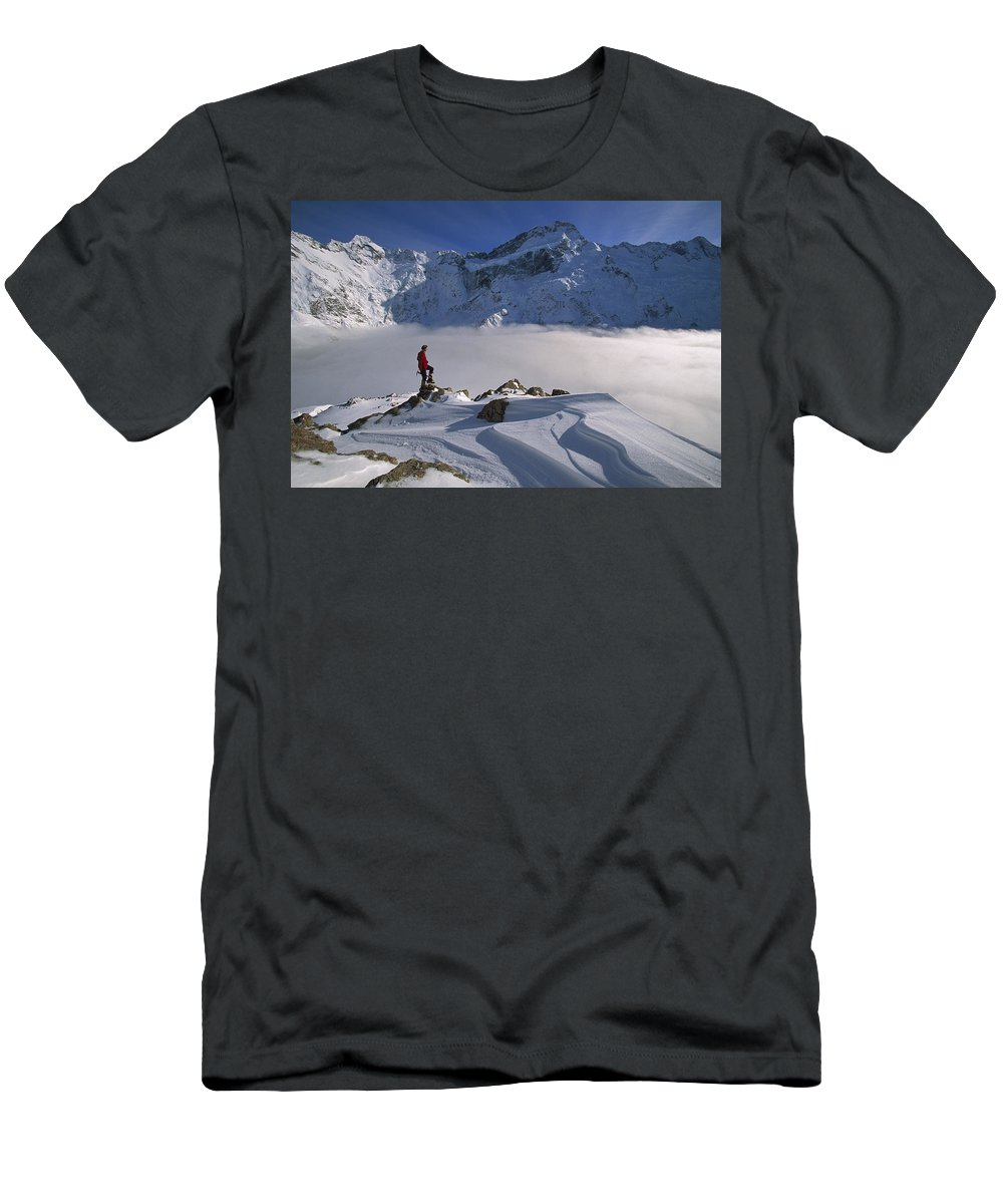 Feb0514 Men's T-Shirt (Athletic Fit) featuring the photograph Mt Sefton Climber At Mueller Glacier by Colin Monteath