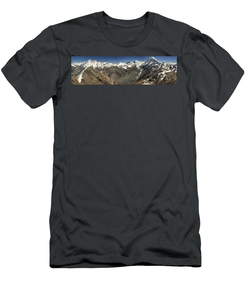 Feb0514 Men's T-Shirt (Athletic Fit) featuring the photograph Mt Sefton Hooker Glacier And Mt Cook by Colin Monteath