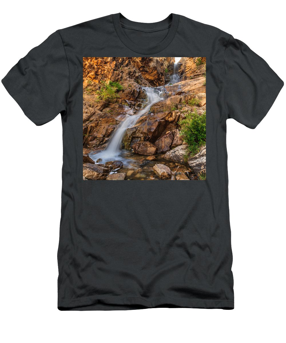 Giigmarie Men's T-Shirt (Athletic Fit) featuring the photograph Murdock Basin Falls 2 by Gina Herbert