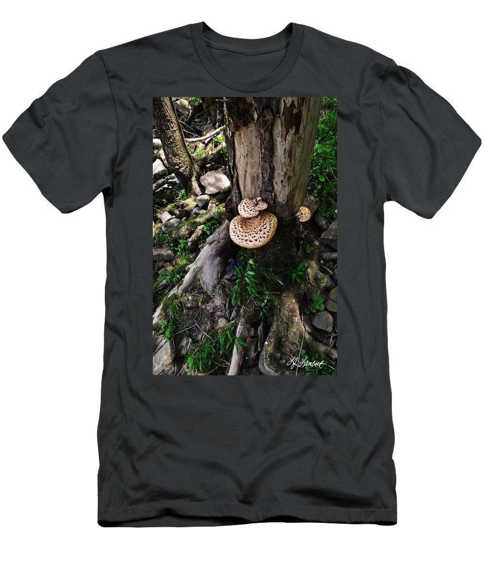 Lisa Lambert Men's T-Shirt (Athletic Fit) featuring the photograph Mushrooms And Flowers by Lj Lambert