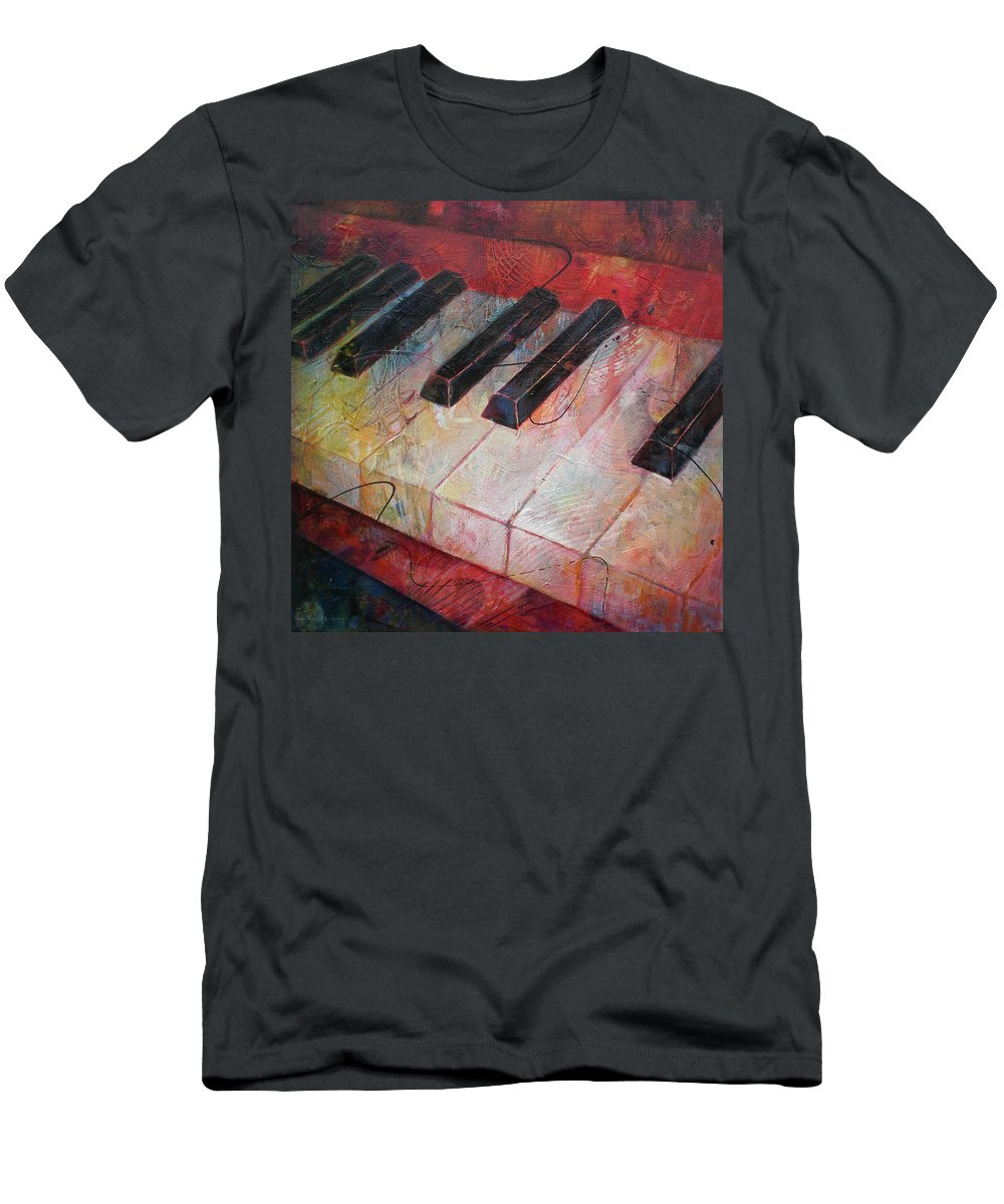 Susanne Clark Men's T-Shirt (Athletic Fit) featuring the painting Music Is The Key - Painting Of A Keyboard by Susanne Clark