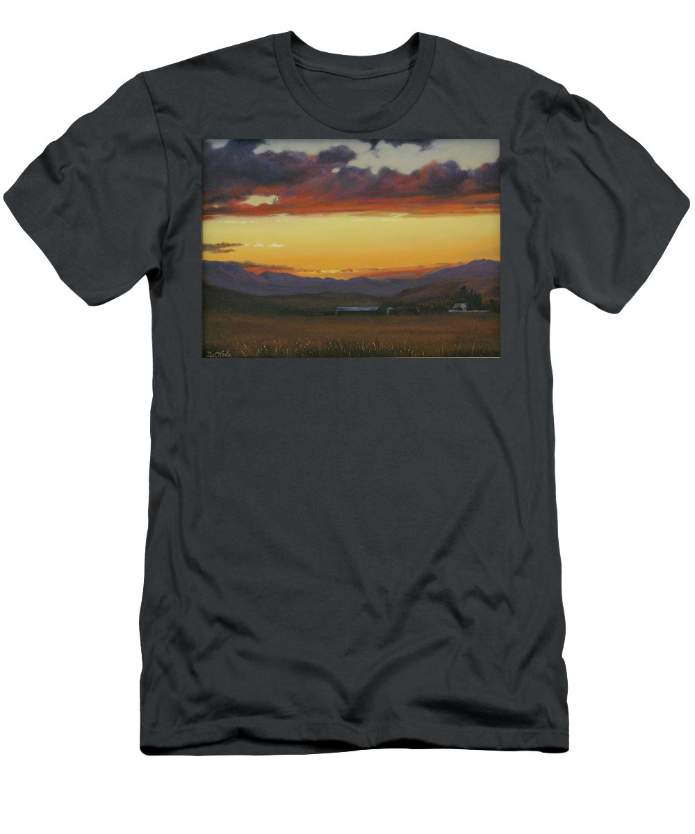 Landscape Men's T-Shirt (Athletic Fit) featuring the painting My Home's In Montana by Mia DeLode