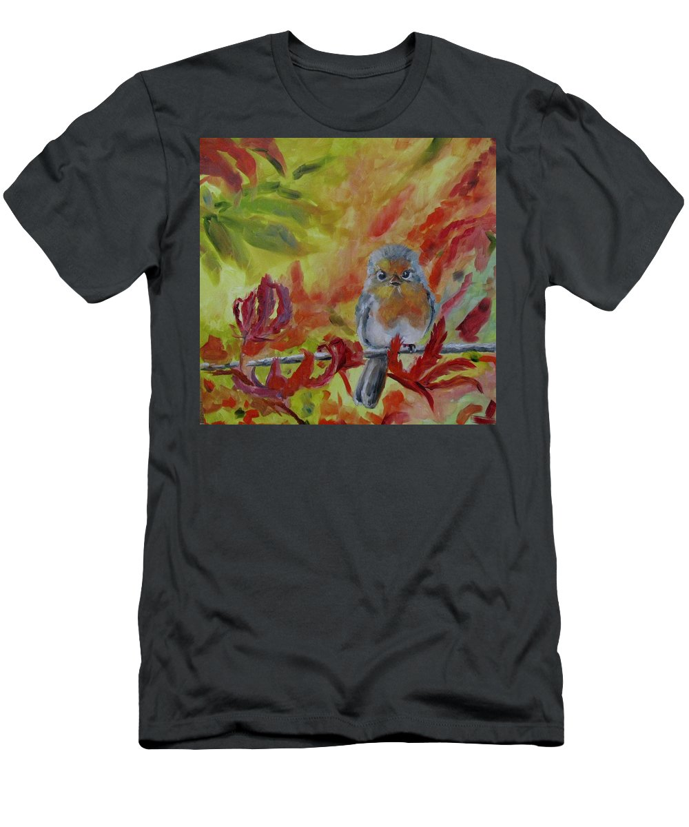 Chickadee Men's T-Shirt (Athletic Fit) featuring the painting My Little Titmouse by Susan Elizabeth Jones